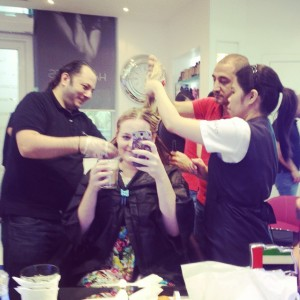 Three hairstylists working on my hair....can you blame me?